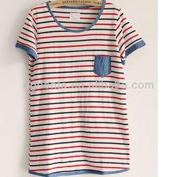 women's printing t shirt design pattrns korea trency stripe t shirt