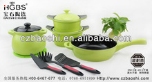HOT SALE BLACK/GREEN/ BLUE COLOR CERAMIC GLAZE CERAMIC COATING CHINESE WOK & FRY PAN COOKWARE SET