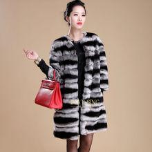 luxury design rex rabbit fur coat/chinchilla fur coat