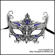 Unique Fashion Party Masks Style Halloween Black Metal Venetian Masks With Royal Blue Crystals Carnival Masks Design MD002-BLBK