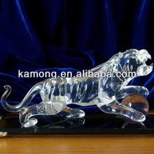 Optical Glass Vivid Powerful Animal Figurine Crystal Tigers For Souvenir Gifts