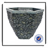13 Inches High Pebble like Fiberglass Garden Planter