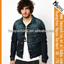 Haoyu jeans wholesale cheap varsity jacket design men jackets, used clothing cotton jacket, denim jacket (HYJ468)