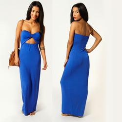 OEM Manufacturer Latest Design Lady Elegant Casual Maxi Dress in Royal blue Women Clothing