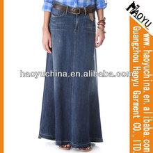 Venta al por mayor de la nueva moda del dril de algodón de la falda, 2014 más reciente diseño de la falda larga, Cuadros verdaderos de largo faldas y tops ( HYSK409 )