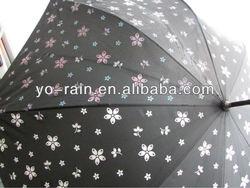 ladies stick auto open color changing umbrella