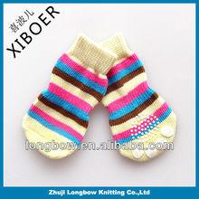 2014 China wholesale manufacturer of eco cotton knitting pet socks, anti-slip rubber indoor cat dog socks,pet products