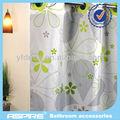 decorativa cortina de la ducha con la flor verde