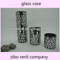 decoração home conjunto de três antigas black silver mirror vaso de vidro cilíndrico