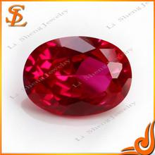 Wuzhou lisheng high quality synthetic loose gems Oval cut red Ruby corundum