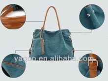 popular canvas material lady shoulder tote bag cross body bag