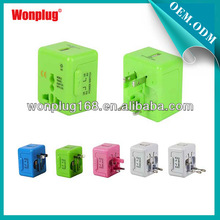 2014 Wonplug Newest Patented Design portable world travel adapter with usb charger port