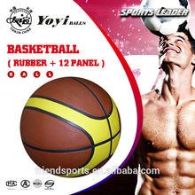 2 color basketball,rubber basketball with 12 panel shape