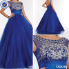 New arrival designs sleeveless beaded sequined royal blue formal prom dress