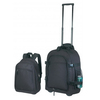 600D polyester black carry-on luggage bag