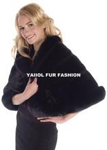 rex 14039 Lady Fashion black Rabbit Fur shawl