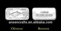 .999 silver 1 Gram Shark Silver Bar