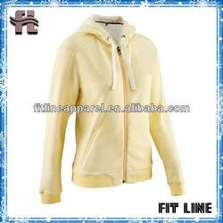 custom YKK zipper womens hoodie/light yellow fashion ladies hoodie thick fleece for winter