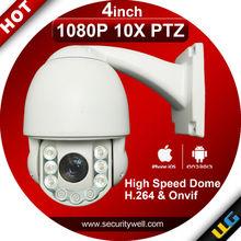 Mini High Speed PTZ IP camera, 4.5inch 1080P 10X outdoor Waterproof IR 100meter