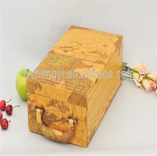 Luxury PU wine packaging gift wine box handmade leather wine carrier