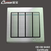 high quality modern wall light switch with stainless steel panel