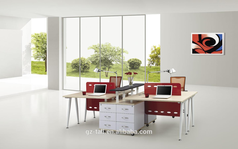 Hete verkoop open kantoor werkplek 4 mensen modern bureau houten tafels product id 1920475622 - Moderne kantoorbureaus ...