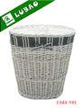 Venta al por mayor baratos gran blanco ronda con tapa eco- ambiente forrado artículos para el hogar o hotelware lavandería cesta de mimbre