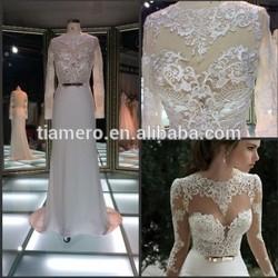 Sexy elegant girl dress see through appliqued lace wedding dress / long sleeve back hole Muslim women wear fashion wedding dress
