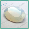 Synthetic faceted oval flat bottom glass gems