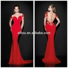 XZE355 Long sleeve mermaid evening dress transparent back beaded evening dresses from dubai
