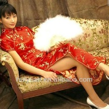 Chinese traditional red short sleeve long length cheongsam
