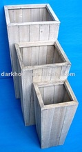 Square Wooden Flower Plant Pot Set of Three