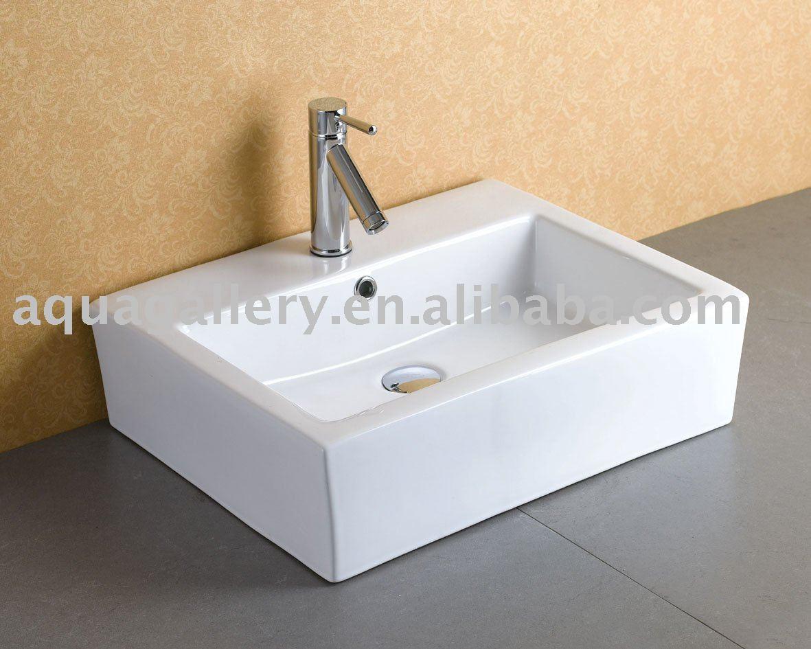 Modern retangular banheiro navio pia com torneira convésPias para banheiroI -> Torneira Para Pia De Banheiro Automatica