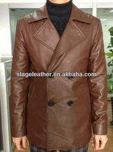 men's brown color sheep skin wind coats fashion 2013