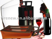 Leather wine tote carrier bag