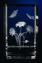 pretty & fashionable 3d crystal flower ,crystal wedding gift 3d laser crystal wedding gift