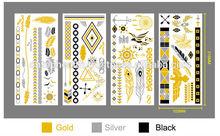 NEW flash gold&silver&black tattoo glitter metallic temporary tattoo, 2014 new and high quality tattoo
