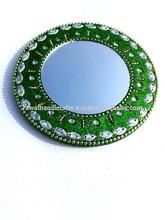 Rawat Handicrafts Indian Handmade Lac Beaded Glitter work Handicrafted make up mirror