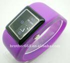 Purple waterproof square case bracelet jelly silicone quartz watch