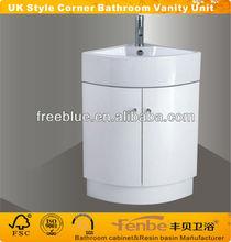 UK style White Corner bathroom vanity unit