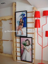 wood advertsing poster stand and acrylic display frame for shop