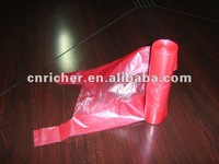 red can liner plastic trash/garbage/rubbish/refuse t-shirt pet shit bag on roll