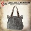 2012 Newest Vintage Inspiration Khaki Cotton Canvas Handbag/Shoulder Bag With PU Leather For Women Good For Entertainment