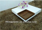 Convertible white wooden high gloss finishing coffee table