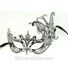 Hot sale Black Swan Metal Filigree Laser Cut Venetian Masquerade Mask w/ Rhinestones Clear