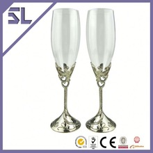 Comfortable To Hold Blown Glass High Stem Flute Champagne Glass Decorations Glassware Manufacturer