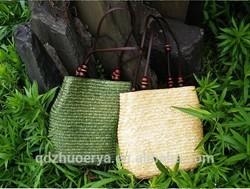 wheat straw women tote beach bag long PU handle big size bag
