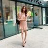 Fashion Pleated Korean Chiffon Sleeveless Dress D-120014
