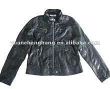 2013 Ladies trendy black pu jacketLadies PU Leather Jacket Washed 2012 Fashion