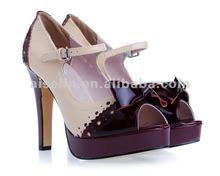 Big size pink with purplish red bowknot strap shoe